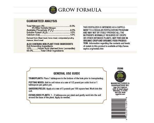 Grow Formula back label for bottle