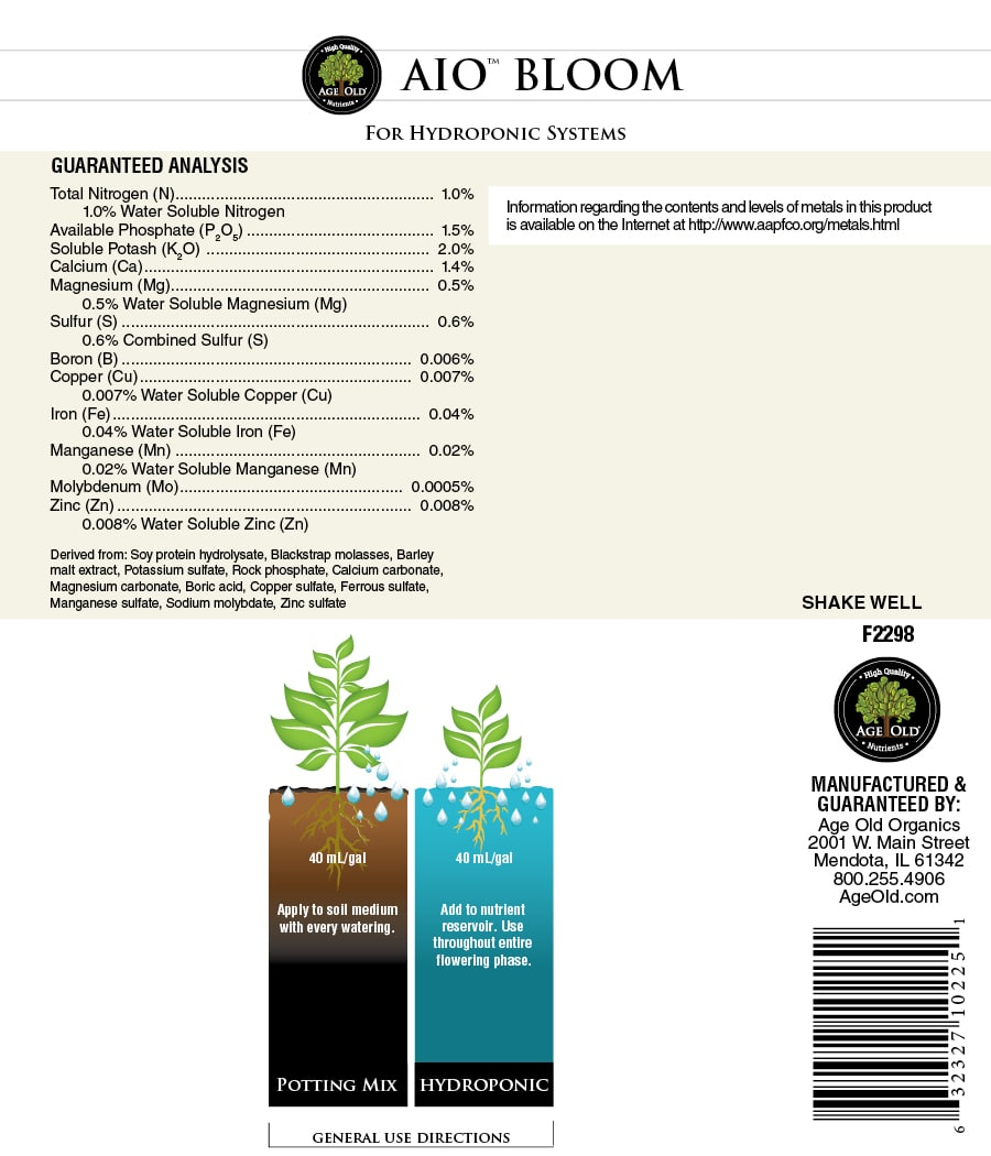 age old nutrients aio blood for hydroponic systems label
