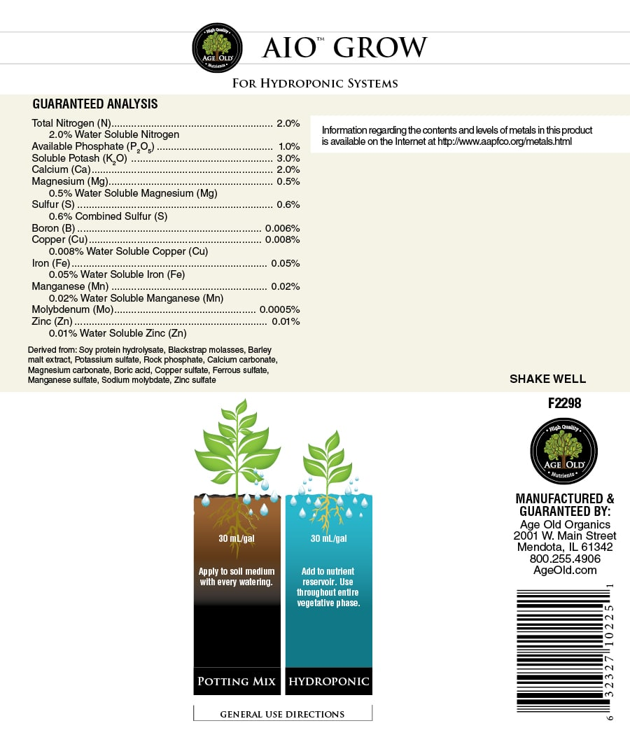 age old nutrients aio grow label