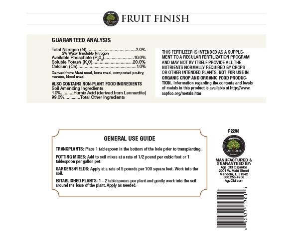 Fruit Finish back label for bottle